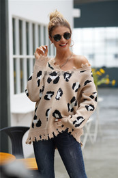 Discount exclusive jackets Sweater ladies fashion V-neck temperament leopard print long-sleeved sweater loose large size tassel knit jacket cross-b