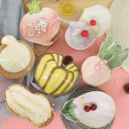 ExquisitE fruit online shopping - Cartoon Radish Pumpkin Fruit Vegetable Plate Exquisite Creative Ceramic Tableware Delicate Jewelry Ring Storage Disk Hot Sale sy Ww