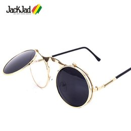 clamshell sunglasses Australia - Wholesale- JackJad 2017 New Fashion VINTAGE Round STEAMPUNK Flip Up Sunglasses Steam Punk Clamshell Design Sun Glasses Oculos De Sol