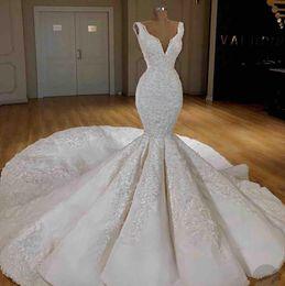 $enCountryForm.capitalKeyWord Australia - Gorgeous Mermaid 2019 Wedding Dresses Appliqued V Neck Big Ruffles Bead Luxury Wedding Dress Sweep Train Plus Size Bridal Gowns Custom