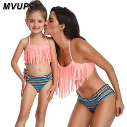 Match Clothing Mom Baby NZ - Striped Mother Daughter Swimsuits Swimwear Family Look Mommy And Me Clothes Bikini High Waist Mom Baby Matching Oufits Tassels Y19051103