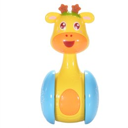 China Cartoon Giraffe Tumbler Doll Cute Rattles Ring Bell for Newborns 3 to 12 Month Early Educational Toy Unisex Roly Poly Baby Toys cheap giraffe ring toy suppliers