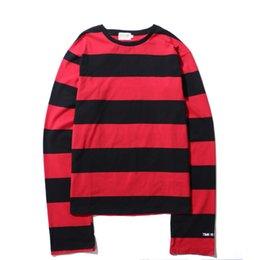 $enCountryForm.capitalKeyWord Australia - 2018 Top Brand Fashion Hip Hop Stripe T shirt Men White O Neck Streetwear Long Sleeve Red Yellow T shirt CL715