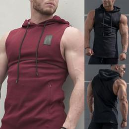 Wholesale muscle singlets resale online - Sleeveless Men s Hoodies Tank Tops Summer Mens Gym Bodybuilding Singlet Hoodie Sleeveless Muscle Tank Top Sweatshirt Vest