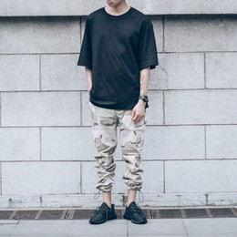 $enCountryForm.capitalKeyWord NZ - Wholesale-Camouflage Cargo Pants Men Draw String Leg Opening Casual Mens Pants Camo Denim Pants Trousers Kanye West