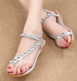 China Cheap Summer Women Beach Wedding Crystals Sandals Shoes New 2019 Rhineston Low Wedge Heels Slip On Open Toe Bridal Comfortable Casual Shoes suppliers