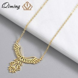 $enCountryForm.capitalKeyWord Australia - QIMING Delicate Bird Phoenix Necklace Female Women Stainless Steel Jewelry Origami Phenix Pendant Friendship Necklaces Gift