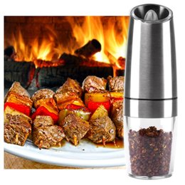 bottle lights UK - Automatic Electric Pepper Grinder LED Light Salt Pepper Grinding Bottle Free Kitchen Seasoning Grind Tool Automatic Mills wh0705