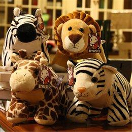 Giraffe Toys Australia - 20170624 Cute Fashion Animals Combination Simulation Lion Giraffe Zebra White Tiger Push Toys Doll Gifts Free Shippiing