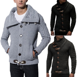 camisolas mais tamanho venda por atacado-Brasão Sweater Cardigan Men Moda Outono Camisolas Sólidos Casual Quente Knitting Jumper Sweater masculino Coats Plus Size XL