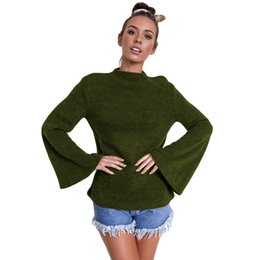 $enCountryForm.capitalKeyWord Australia - New Fashion Autumn Winter Women Warm Blouse Flare Long Sleeves Solid Color Casual Elegant Top Pullover Black Brown Green