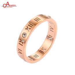 Roman Numerals Ring Wholesale Australia - Aladdin Titanium Steel Ring Roman Numerals Wedding Bands Top Quality Zircon Rose Gold Women's Engagement Trendy Letter Rings
