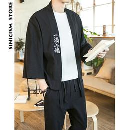 $enCountryForm.capitalKeyWord Australia - Sinicism Shop 2019 Cotton Linen Men's Shirts Kimono Men's Chinese Japan Style Embroidery Three -quarters Sleeve Y19071301
