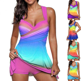 c73aaa089703 Women gradient skirt printed swimsuit set two-piece bathing suit sexy conservative  swimwear colorful types outdoors beach wear LJJQ134