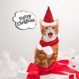Feliz Navidad sombreros de Santa perrito del sombrero de la bufanda Conjunto del gatito caliente del invierno de Neckchief admiten Chritsmas Conjunto de vestuario en venta