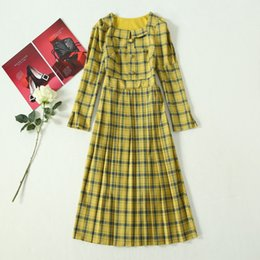 spring yellow NZ - 2020 Spring Summer Long Sleeve Square Neck Yellow Plaid Print Panelled Buttons Mid-Calf Dress Luxury Runway Dresses A052305A2