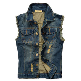 0b456c2cf0f2ea Mens Sleeveless Denim Jacket UK - Ripped Jean Jacket Mens Denim Vest 5XL  6XL Jeans Waistcoat