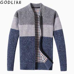 Thick Sweater Jacket Warm Australia - 2019 Autumn Winter Men's Sweater Coat Faux Fur Wool Sweater Jackets Men Zipper Knitted Thick Coat Warm Casual Knitwear