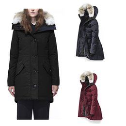 ladies corduroy jackets Canada - Goose Lady Coat E40 Winter Hooded Wolf Fur Duck Down Jacket Windproof And Cold Long Jacket DHL Free Shipping
