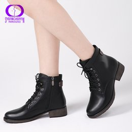 38cbfc2ce4f AIMEIGAO Round Toe Ankle Boots For Women Lace up Black Color Female Boots  Warm Fur Plush Insole Classic Style Women Shoes