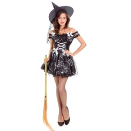 $enCountryForm.capitalKeyWord UK - Gothic Sexy Black Rose Pattern Dress Sexy Witch Vampire Costume Women Masquerade Party Halloween Cosplay Costume