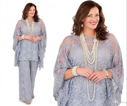 Wholesale Gorgeous Lilac Plus Size 2019 Lace Chiffon Mother of the Bride Dresses Suits Plus Size for Formal Party Women Guest Pants for Wedding