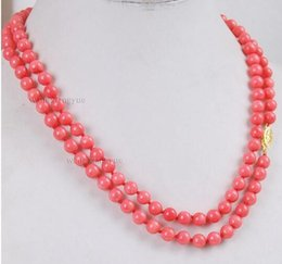 "coral beads for sale NZ - Women Gift word Love Hot sale Shipping>>long 32"" 6mm Japan Pink Coral Round Beads Necklace mujer for silver-jewelry"