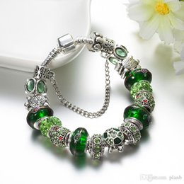 $enCountryForm.capitalKeyWord Australia - Green Murano Glass Charms Bracelet 925 Sterling Silver Plated Chain Bracelet with logo Fashion DIY Jewelry for Women Gift