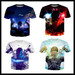Gold Print Art Australia - New Style Anime Sword Art Online Newest Hot Fashion T-shirt 3D Print Men Womens Unisex Summer Round Collar Short Sleeve Casual Tops K995
