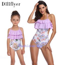 Wholesale bikini pool girl online – Bikini Parent child One Piece Suit Swimwear Female Girls Flower Ruffle Upgraded Beachwear Pool Elastic Swimsuit