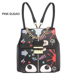 Pink sugao designer backpack luxury backpacks for women cartoon cute flower  printed backpack leather chain fashion bags famous brand bags 752654a7a79ef