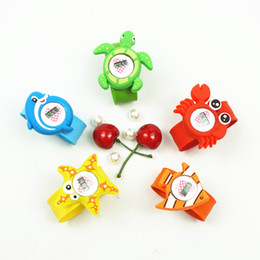 snap animals NZ - Cartoon Slap Watches 5 Designs Kids Silicone 3D Animal Watch Snap Slap Electronic Watch 5 Pieces ePacket