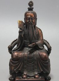 Chinese Carving Dragon Australia - Chinese Taoism Bronze Copper Carved Dragon Immortal God Tai Chi Statue Sculpture