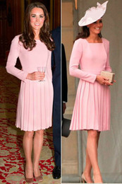 square art Australia - Kate Middleton Dress Pink Elastic Satin Short Formal Evening Dresses With Long Sleeves Knee Length Square Arabic Celebrity Dress Robe Gowns
