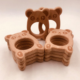 Infant Teethers Australia - 10pcs Infant Wooden Bear shape Teethers for Baby Kids Molar Pacifier Chain Necklace Toys Food Grade Beech Teething Training Toy