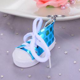 $enCountryForm.capitalKeyWord NZ - Creative Mini Canvas Sequin Shoes Keychain Bag Charm Woman Men Kids Key Ring Key Holder Gift Sports Sneaker Key Chain Funny Gift