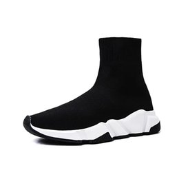 Women high White boots online shopping - 2019 Designer Luxury Brand Sock Shoes Oreo Black White Men Running Shoes New Gypsophila Cheap Women Boots Sneakers Size