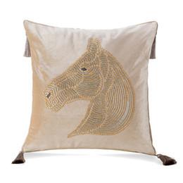$enCountryForm.capitalKeyWord Australia - Nordic Europe luxury hot drilling horse cushion pillow cover add tassel velvet home car living room sofa Dec wholesale FG1138