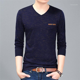 Wholesale mens long v neck t shirts for sale – custom Designer T Shirts Spring V Neck Men Long Sleeve Casual Clothes Loose Men Sweater Plus Size Knitted Mens Fashion