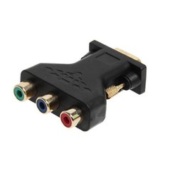 vga component adapter UK - 100PCS VGA to RCA Adapter 3 Video Female To HD15-Pin Converter Style Component Jack