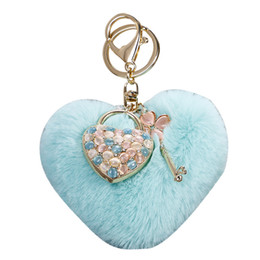 locks keys wholesalers NZ - Fur Ball Keychains Keyring Heart Design Opal Pendant Women Bag Charms Jewelry Fashion Lock Key Chain Rings Holder Alloy Trinket Accessories