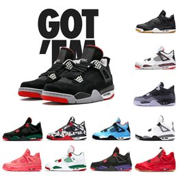18912162f82 2019 Bred 4 4s mens Basketball Shoes Pale Citron Pizzeria Lightning Singles  Day Tattoo LASER Hot Punch Oreo Mens Sports Sneakers 7-13