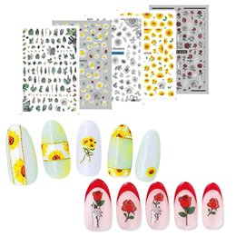 $enCountryForm.capitalKeyWord Australia - Ultra-thin 5pcs Nail Sticker Blossom Colorful Flower Rose Sunflower Valentine Water Full Wraps Nail Art Decals Charms Tips