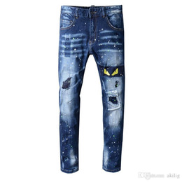 Wholesale male embroidery jeans resale online – designer Summer New Mens Creative Cat Eye Embroidery Jeans Male Korean Version Designer Jeans Wrinkle Patch Stretch Slim Feet Pants Size