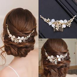 Crystal Tiara Hair Clip Australia - Simulated Pearl Crystal Hair Jewelry Flower Tiara Hair Combs Clips Wedding Women Bridal Handmade Hair Accessories Hot Sale Drop