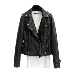 $enCountryForm.capitalKeyWord Australia - Korean Version Women Windbreaker PU Leather Jacket Coat Lapel Motorcycle Jacket Cardigan Slim Short Tops Casual Wild Daily