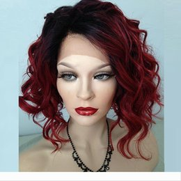 style for long black hair Australia - Bob Style Curly Ombre 99J Lace Front Wig Short Bob Glueless Lace Front Human Hair Wig Burgundy Full Lace Wig For Black Women