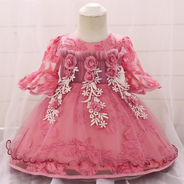 Halloween Tutus For Infants Australia - Baby Dress Embroidery Tutu Baby Girl Christening Gowns 1 Years Birthday Party Dresses For Infant 3M-24M Baby Girl Costume