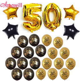 $enCountryForm.capitalKeyWord NZ - Amawill Anniversary 50th Birthday Party Decorations Adult Kit with Gold and Black 50 Printed Latex Globos Star Foil Balloons 75D