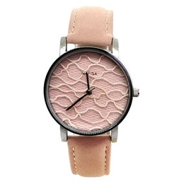 $enCountryForm.capitalKeyWord Australia - Nafisa Women's Hot Fashion Sexy Pink Fancy Fabric Dial Silver Color Case Leather Strap Wrist Watch NA-182